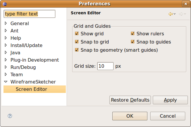 Grid and guides preferences