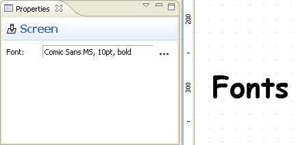 Screen font property