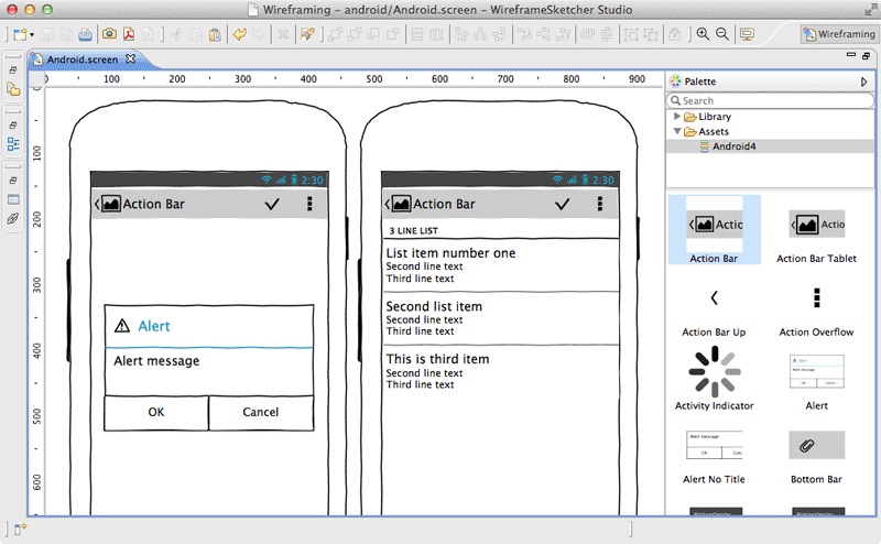Create Android wireframes, mockups, prototypes