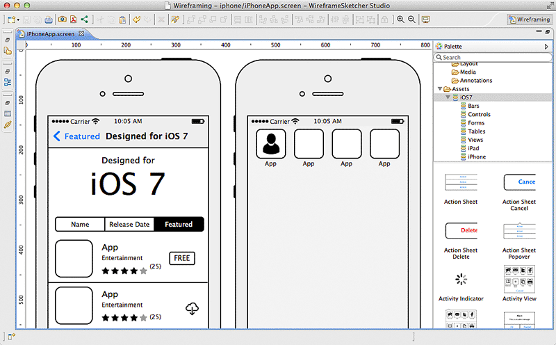 Create iPhone wireframes, mockups, prototypes