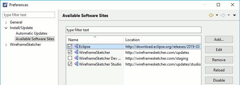 Enable Eclipse update site
