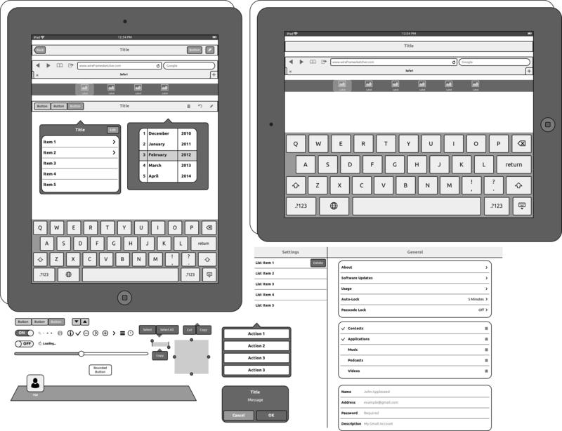 ipad stencil - Wireframe Ipad
