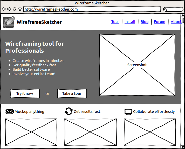 Website wireframe created using WireframeSketcher